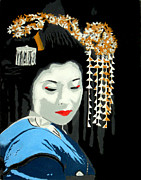 Asian Pop Culture Posters - Geisha Poster by Timothy Eakin