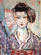 Held Paintings - Geisha by Vered Fishman