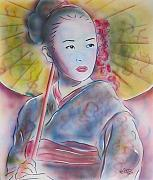 Japan Pastels Framed Prints - Geisha Framed Print by Vered Thalmeier