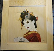Red Pyrography Originals - Geisha White Ivory Framed Pyrographic Original Wood Panel by Pigatopia by Shannon Ivins