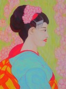 Cherry Blossoms Drawings Posters - Geisha with Cherry Blossoms Poster by Beth Akerman