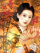 Kimono Posters - Geisha with Fan Poster by Mo T