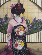 Geisha With Iris Print by Kim Selig