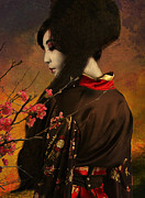 Japanese Art Digital Art Prints - Geisha with Quince - revised Print by Jeff Burgess