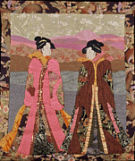 Art Quilt Tapestries - Textiles Prints - Geishas in Rose Print by Roberta Baker