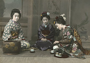 Hand Tinted Prints - Geishas Perform A Tea Ceremony Print by Eliza R. Scidmore