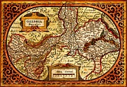 Old Map Drawings Prints - Geldria Ducatus Map Print by Pg Reproductions