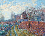 Signed Metal Prints - Gelee Blanche Metal Print by Alfred Sisley