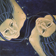 Female Stars Prints - Gemini from Zodiac series Print by Dorina  Costras