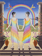 Sisters Paintings - Gemini Goddesses of the Rainbow by Karen MacKenzie