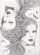 Astrology Drawings Posters - Gemini Poster by Lorelei  Marie