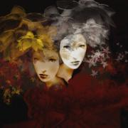Twins Digital Art Prints - Gemini Print by Maria Szollosi