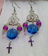 Silver Turquoise Jewelry - Gems and Cross Chandelier by Kristin Lewis