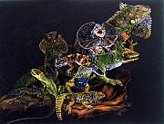 Reptiles Drawings - Gems and Jewels by Barbara Keith