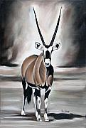 Desert Wildlife Paintings - Gemsbok - Solitude by Ilse Kleyn