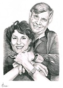 Celebrities Drawings Posters - Gene and Majel Roddenberry Poster by Murphy Elliott