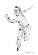 Pencil Drawings Drawings Prints - Gene Kelly Print by David Lloyd Glover