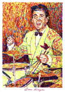 Portrait Artist Posters - Gene Krupa the Drummer Poster by David Lloyd Glover