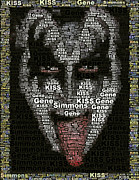 Gene Simmons Framed Prints - Gene Simmons KISS Words Framed Print by Paul Van Scott