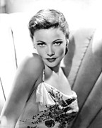 Flowered Dress Framed Prints - Gene Tierney, 1946 Framed Print by Everett