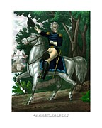 American History Mixed Media Prints - General Andrew Jackson On Horseback Print by War Is Hell Store
