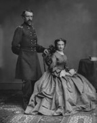 American Generals Framed Prints - General Custer and His Wife Libbie Framed Print by War Is Hell Store