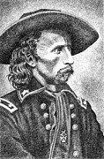 Pen And Ink Drawings For Sale Art - General Custer by Gordon Punt