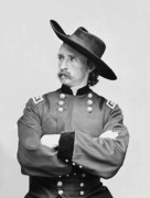 Army Photo Framed Prints - General Custer Framed Print by War Is Hell Store