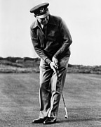 Featured Acrylic Prints - General Dwight Eisenhower Playing Golf Acrylic Print by Everett