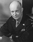 Us Presidents Photo Framed Prints - General Dwight Eisenhower Framed Print by War Is Hell Store