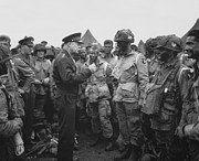 Military Photo Framed Prints - General Eisenhower on D-Day  Framed Print by War Is Hell Store