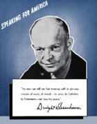 Ike Framed Prints - General Eisenhower Speaking For America Framed Print by War Is Hell Store