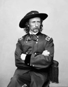 Union Army Framed Prints - General George Armstrong Custer Framed Print by War Is Hell Store