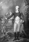 Horse Drawings Acrylic Prints - General George Washington at Trenton Acrylic Print by War Is Hell Store