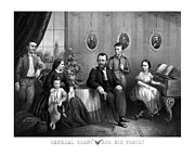 Us Presidents Mixed Media Prints - General Grant And His Family Print by War Is Hell Store