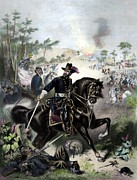 Civil War Paintings - General Grant During Battle by War Is Hell Store