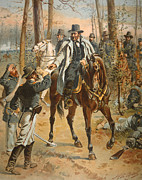 Horseback Riding Framed Prints - General Grant in the Wilderness Campaign 5th May 1864 Framed Print by Henry Alexander Ogden