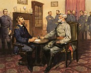 Flag Of Usa Painting Prints - General Grant meets Robert E Lee  Print by English School