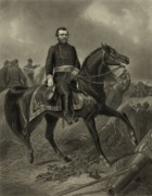Civil Drawings Framed Prints - General Grant On Horseback  Framed Print by War Is Hell Store