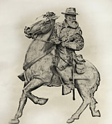 Longstreet Prints - General James Longstreet Statue at Gettysburg  Print by Randy Steele