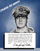 Ww2 Painting Posters - General MacArthur Speaking For America Poster by War Is Hell Store