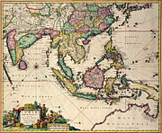 Vintage Map Drawings Posters - General map extending from India and Ceylon to northwestern Australia by way of southern Japan Poster by Nicolaes Visscher Claes Jansz