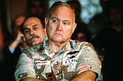 Iraq Prints - General Norman Schwarzkopf Listens Print by Everett