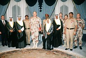 Bahrain Framed Prints - General Norman Schwarzkopf With Shaikh Framed Print by Everett