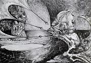 Visionary Drawings - General Peckerwood In Purgatory by Otto Rapp