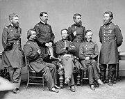 Union Army Framed Prints - General Sherman and His Staff  Framed Print by War Is Hell Store