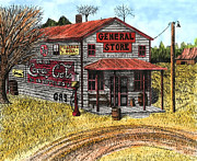 Country Dirt Roads Drawings - General Store by Mike OBrien