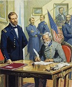 Battle Painting Framed Prints - General Ulysses Grant accepting the surrender of General Lee at Appomattox  Framed Print by Severino Baraldi