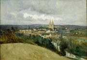 Church On The Hill Posters - General View of the Town of Saint Lo Poster by Jean Corot