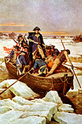 Presidents Paintings - General Washington Crossing The Delaware River by War Is Hell Store